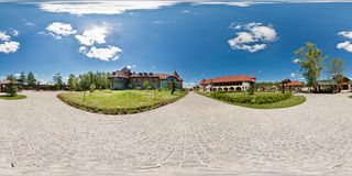 GRODNO, BELARUS - MAY 13, 2011: Full 360 degree equirectangular spherical panorama near the ancient knight`s castle in sunny day stock photo