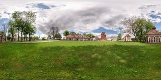 GRODNO, BELARUS - MAY 13, 2015: full 360 degree panorama in equirectangular spherical projection in vintage old castle, VR content stock image