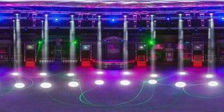 GRODNO, BELARUS - MAY 12, 2013: Full 360 equirectangular spherical panorama in stylish night club BAZA. Grodno, Belarus. Мау 12 stock photography