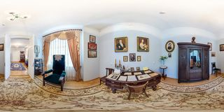 GRODNO, BELARUS - MAY 9, 2012: Full 360 panorama in equirectangular spherical equidistant projection in interier of the museum of stock image