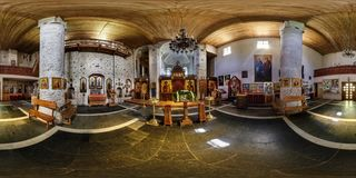 GRODNO, BELARUS - MAY 05, 2015: Full 360 panorama in equirectangular spherical projection in the beautiful Ortodox Church Kalozha royalty free stock photos