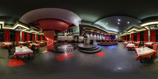 GRODNO, BELARUS - MAY 29, 2013: Full 360 panorama in equirectangular spherical projection in luxury red restaurant Turan stock photography