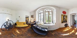 GRODNO, BELARUS - MAY 2019: Full spherical seamless hdri panorama 360 degrees angle view in interior of painter studio at work. royalty free stock photography