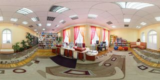 GRODNO, BELARUS - MAY 2, 2016: Panorama interior library in the center of children development. Full spherical 360 by 180 degrees royalty free stock images