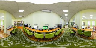 GRODNO, BELARUS - MAY 3, 2016: Panorama in interior modern computer class for children. Full spherical 360 by 180 degrees seamless stock images