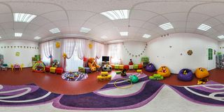 GRODNO, BELARUS - MAY 2, 2016: Panorama interior playroom in the center of children development. Full spherical 360 by 180 degrees royalty free stock photos