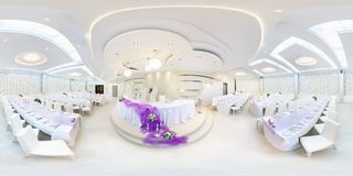GRODNO, BELARUS - MAY 29, 2012: Panorama in interior in white banquet hall. Full 360 degree seamless panorama in equirectangular. Equidistant spherical stock photography