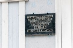 Plaque commemorating the years in which Eliza Orzeszkowa lived here. Grodno, Belarus - May 17, 2019: Plaque commemorating the years in which Eliza Orzeszkowa stock photos