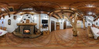 GRODNO, BELARUS - NOVEMBER 14, 2013: Full 360 degree panorama in equirectangular equidistant spherical projection in interier old stock images