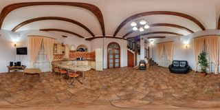 GRODNO, BELARUS - NOVEMBER 14, 2013: Full 360 degree panorama in equirectangular equidistant spherical projection in interier old royalty free stock photography