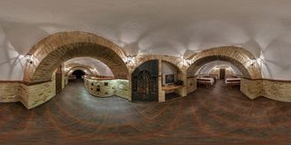 GRODNO, BELARUS - NOVEMBER 15, 2013: full 360 degree panorama in equirectangular spherical projection in vintage old castle royalty free stock images