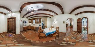 GRODNO, BELARUS - NOVEMBER, 2013: full seamless spherical Panorama 360 degrees angle view in interior kitchen in vacation house in stock photo