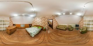 GRODNO, BELARUS - NOVEMBER 13, 2013: Panorama interior bedroom in vacation house in wooden style. Full spherical 360 by 180 royalty free stock photo