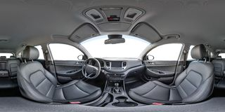 360 angle panorama view in interior of prestige modern car Hyundai. Full 360 by 180 degrees royalty free stock photos