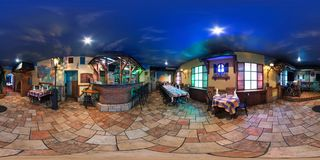 GRODNO, BELARUS - OCTOBER 16, 2011: full 360 degree panorama in equirectangular spherical projection in vintage style cafe, VR royalty free stock photos