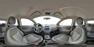 GRODNO, BELARUS - OCTOBER 12, 2017: Full 360 by 180 degree seamless equirectangular equidistant spherical panorama in interior of. Prestige modern car Ravon royalty free stock photography