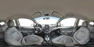 GRODNO, BELARUS - OCTOBER 12, 2017: Full 360 by 180 degree seamless equirectangular equidistant spherical panorama in interior of. Prestige modern car Ravon stock images