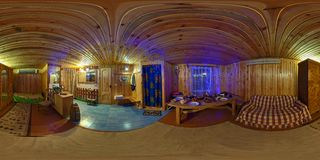 GRODNO, BELARUS - OCTOBER 5, 2011: Full 360 degree seamless panorama in equirectangular spherical projection. Panorama in interior stock image