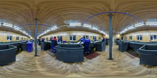 GRODNO, BELARUS - OCTOBER, 2017: full seamless panorama 360 in equirectangular spherical projection in manufactory for sorting and stock images