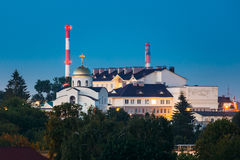 Grodno, Belarus. Orthodox Temple In The Name Of The Holy Monk Martha At Evening In Night Illuminations Lights. Royalty Free Stock Images