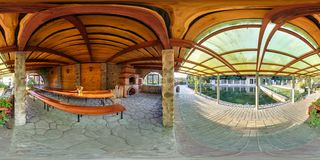 GRODNO, BELARUS - SEPTEMBER 18, 2014: Full 360 panorama in equirectangular spherical equidistant projection in interior stylish stock photo