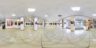 GRODNO, BELARUS - SEPTEMBER, 2018: Full seamless spherical panorama 360 degrees angle view in interior of contemporary art stock images