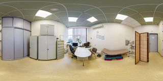 GRODNO, BELARUS - SEPTEMBER, 2017: Interior of doctor`s office in modern sports complex, full seamless panorama 360 angle view in stock photo