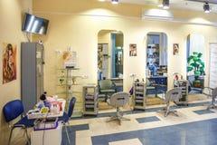 GRODNO, BELARUS - SEPTEMBER 2018: interior of hairdresser barbershop and beauty salon stock image