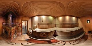 GRODNO , BELARUS - SEPTEMBER 22, 2014: Interior in rustic wooden Russian bath, full 360 degree panorama in equirectangular stock image