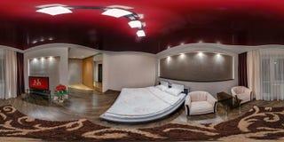 GRODNO BIAŁORUŚ, SIERPIEŃ, - 08, 2013: Nowożytny loft mieszkania wnętrze, sypialnia, sala w czerwień stylu kolorze, folował 360 1 zdjęcia stock