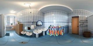 GRODNO, BIELORRUSIA - ABRIL DE 2016: Panorama inconsútil completo 360 grados del ángulo dentro del pequeño cuarto de baño interio imágenes de archivo libres de regalías