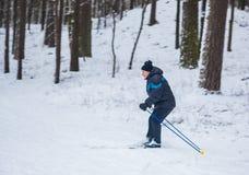 GRODNO, BIELORRUSIA - 15 DE ENERO DE 2017 Un viejo hombre ejercita para mejorar su salud por el esquí del campo a través Fotografía de archivo libre de regalías
