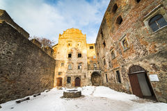 Grodno castle courtyard. In winter - Poland Stock Image