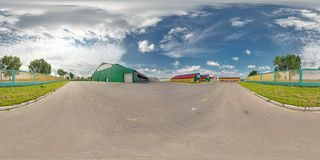 GRODNO DISTRICT, BELARUS - SEPTEMBER 6, 2012: Full 360 panorama in equirectangular spherical equidistant projection in exterior stock images