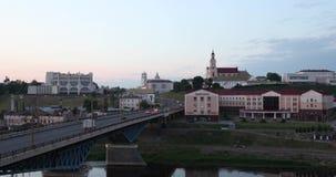 Grodno Vitryssland Bro teater för drama över för den Neman floden, Grodno regional, St Francis Xavier Cathedral And Bernardine arkivfilmer