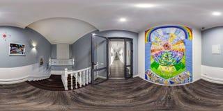 GRODNO VITRYSSLAND - DECEMBER, 2018: Sfärisk panorama för full sömlös hdri 360 grader vinkelsikt i inre museumrum med trappa royaltyfria bilder