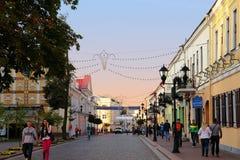 Grodno Vitryssland - September 02, 2012: Pedestrianised gata i G Arkivbilder