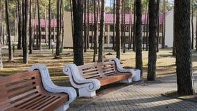 GRODNO, WEISSRUSSLAND - 2. MÄRZ 2019: Sanatorium ENERGETIK Wohngebäude im Kiefernwald lizenzfreies stockfoto
