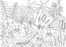 Grodorna som önskade en konung Colorless royaltyfri illustrationer