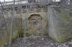 Grodowa ściana rujnująca z działo piłką Zdjęcia Stock