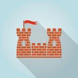Grodowa płaska ikona Obrazy Stock