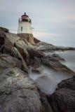 Grodowa wzgórze latarnia morska przy zmierzchem zdjęcie stock