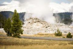 Grodowy gejzer na Górnym gejzeru basenie obok Stary Wiernego przy Yellowstone parkiem narodowym Zdjęcia Royalty Free