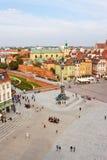 Grodowy kwadrat w starym miasteczku Warszawa, widok od above Obrazy Stock