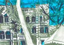 Grodowy markiera krajobraz tło portfolio więcej mój podróż Grodowy budynek Ręka rysująca nakreślenie ilustracja Obrazy Stock