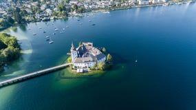 Grodowy Ort, Gmunden, widok z lotu ptaka obrazy royalty free