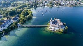 Grodowy Ort, Gmunden, widok z lotu ptaka obrazy stock