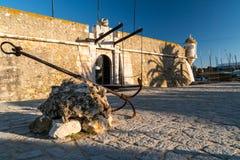 Grodowy palmy kotwicy Algarve Portugal cień zdjęcia stock