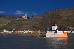 Grodowy Pfalzgrafenstein Gutenfels na Rhine rzece i kasztel, Niemcy Obrazy Stock