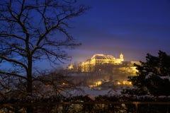 Grodowy Spilberk w Brno podczas błękitnej godziny zdjęcie royalty free